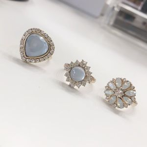 Light blue crystal rings